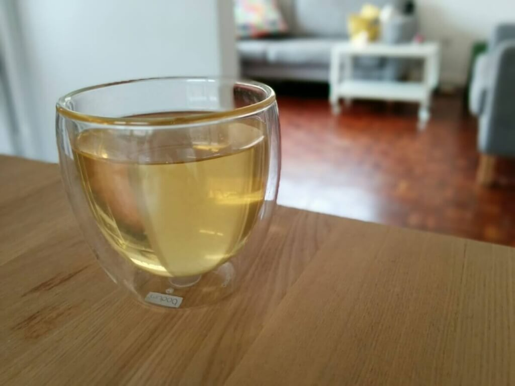 A glass of beautiful cold brewed white tea