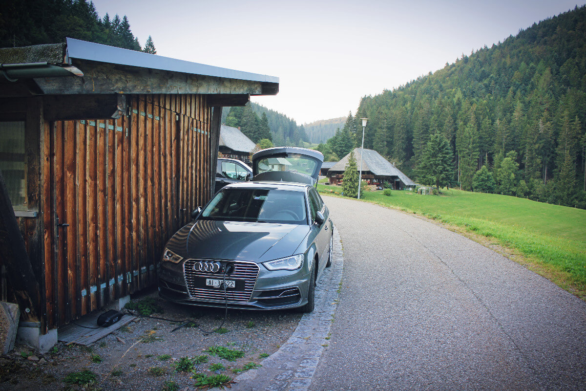 The Audi etron charging in the Black Forest