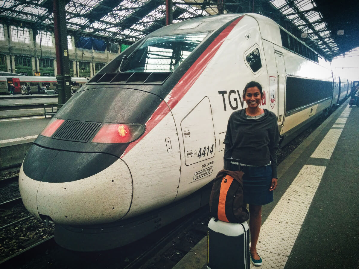 Vineeta boarding the TGV Lyria