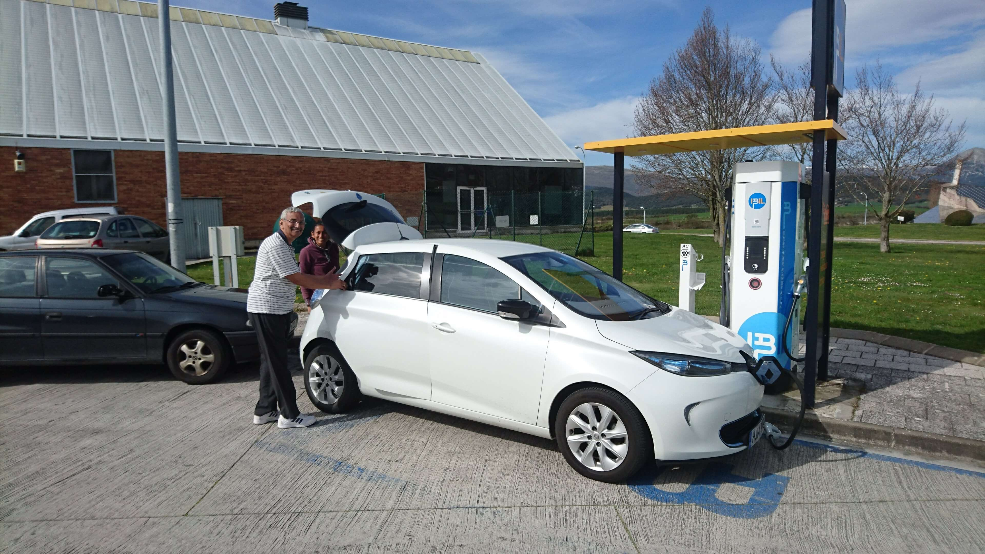 Charging a Renault Zoe at a service station